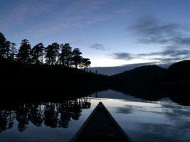 Under moonlight shadows on Loch Beinn a'Mheadhoin